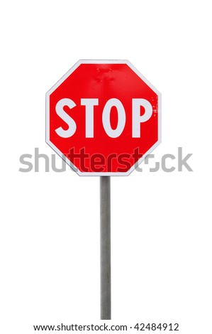 Stop road sign on white background