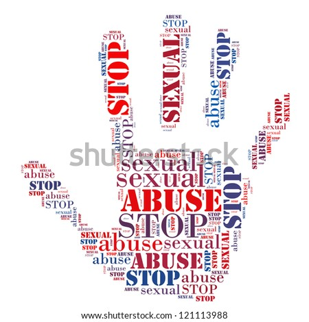 Stop Sexual Abuse sign words clouds shape isolated in white background