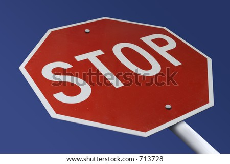 "Stop Sign altered to read ""Stop Paying High Interest"" - stock photo"