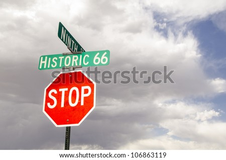 stop sign and street sign along historic us route 66