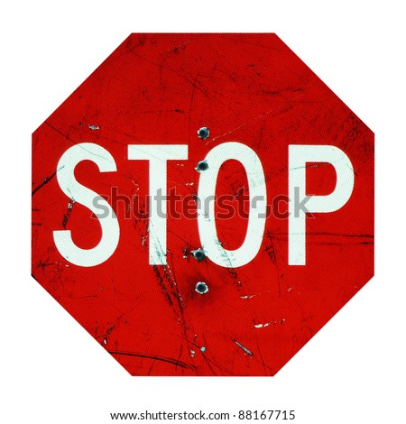 Stop Sign Enforced with Bullet Holes
