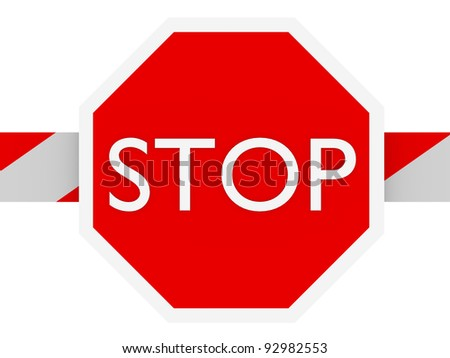 Stop sign in a barrier in white and red
