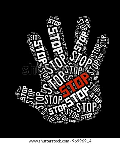 Stop sign in word collage