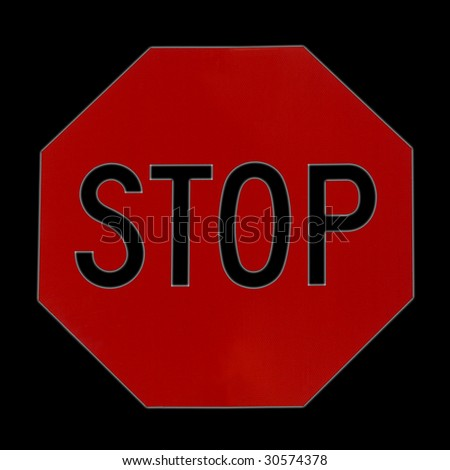 Stop sign isolated on pure black