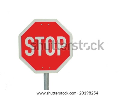stop sign isolated on white background with empty copyspace for text