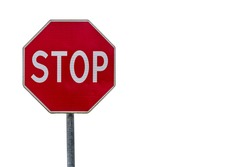Stop sign isolated over white background. Copy space.