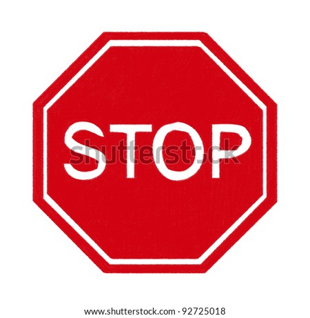 stop sign made by pastel on charcoal paper #92725018
