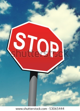 stop sign on the blurred sky background - stock photo