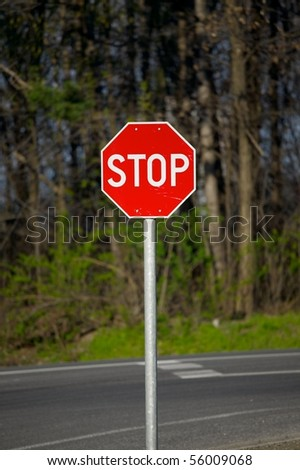 Stop sign on the road