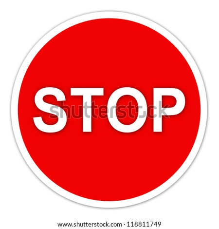 stop sign on white background - stock photo