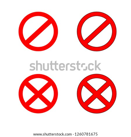 Stop sign symbol set. Warning stopping icon, red stops signal.
