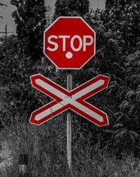 Stop sign with blackandwhite background