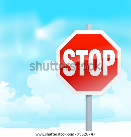 STOP SIGN with cloudy sky, raster formant