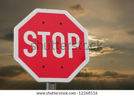 Stop sign with dramatic sky in the background