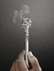 Stop smoking will be late. concept for tobacco day made by retouch