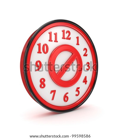 Stop symbol on a red watch.Isolated on white background.3d rendered.