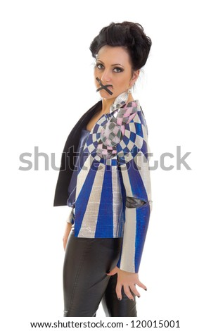 stop talking! young woman in fantastic jacket with her mouth sealed with black tape