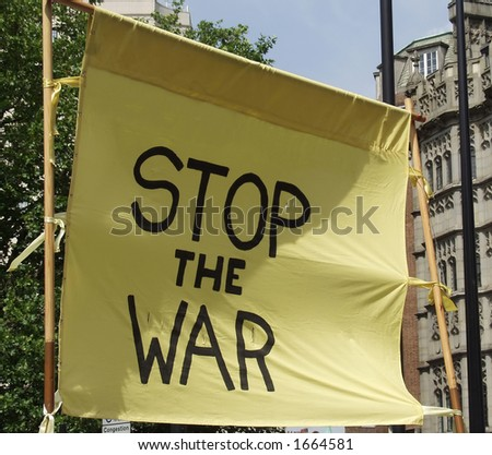Stop The War Protest Banner