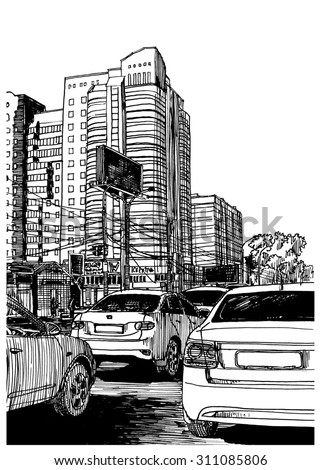 Stop traffic. City view urban scene. Black and white dashed style sketch, line art, drawing with pen and ink. Western classical trend of book illustration and comic art. Retro vintage picture.