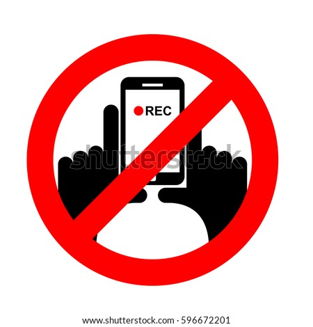 Stop vertical video. It is forbidden to record video. Prohibition sign. Crossed-shooting smartphone. Emblem against vertical videos. Red prohibition sign. Ban record