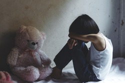 Stop violence and abused children. traumatized children concept.
