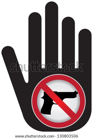 Stop Violence Or No Gun Prohibited Sign Present By No Gun Sign Isolated on White Background