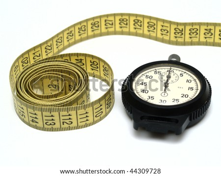 stop watch and measuring tape, isolated on white background