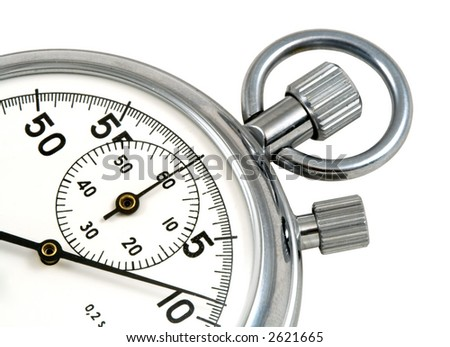 Stop-watch, close up, isolated on white, clipping path included