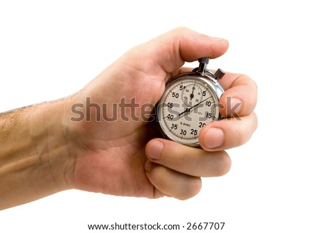 Stop-watch in a hand, isolated on white, clipping path included