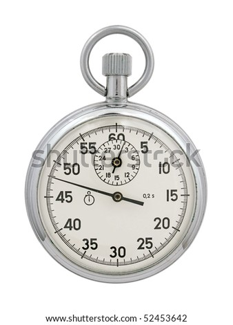 Stop-watch on a white background. The image contains a contour for cropping.