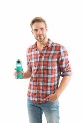 Stop your thirst. Thirsty guy hold water bottle isolated on white. Handsome man feel thirsty. Thirst and dehydration. Thirst control. Fluid intake. Drinking water. Stay hydrated and prevent thirst.