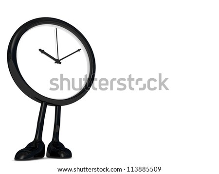stopped clock, with legs and feet.