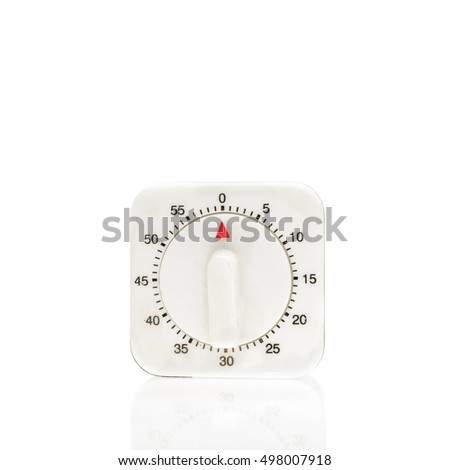 Stopped kitchen timer isolated on white background