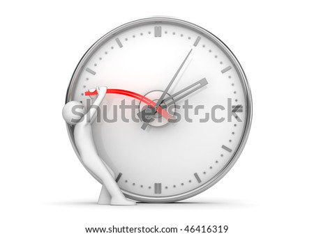 Stopping clock hands to stop the time (3d isolated on white background characters series)
