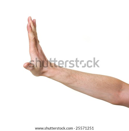 stopping hand isolated over white background
