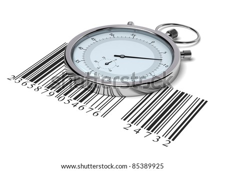 stopwatch and bar code over white background - delivery concept
