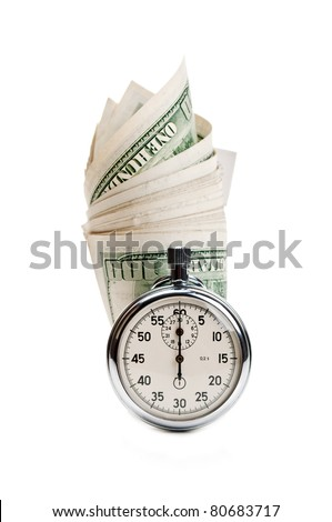 stopwatch and dollar isolated on a white background