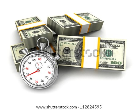 Stopwatch and dollar packs. time is money concept