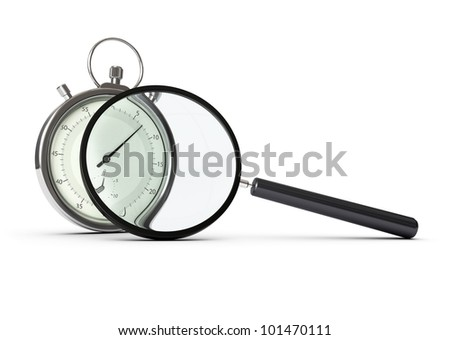 stopwatch and magnifying glass over white background, concept of performance analysis