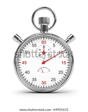 Stopwatch. 3d image. Isolated white background. Clipping path included.