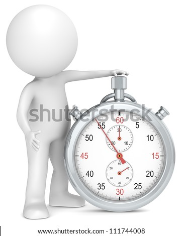 Stopwatch. 3D little human character with a Stopwatch. People series.