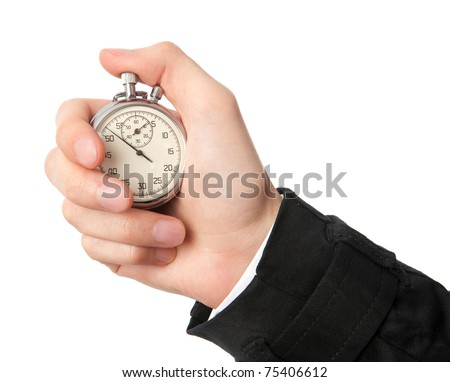 Stopwatch in a hand isolated on white background