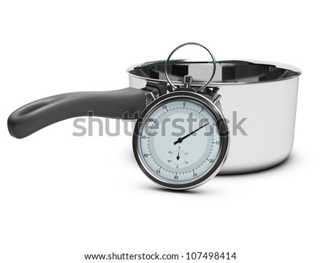 stopwatch in front of a saucepan over white background with shadow