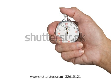 Stopwatch in hand isolated on a white background, stopwatch with clipping path - stock photo