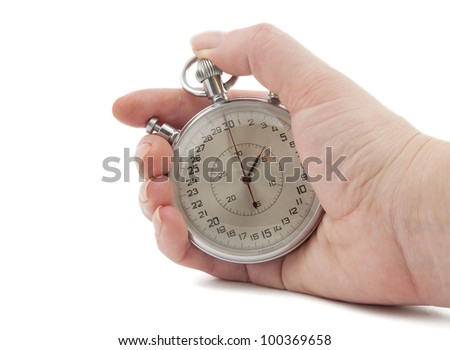 Stopwatch in hand isolated on white background - stock photo