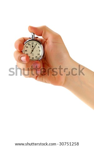 Stopwatch in male hand, isolated on white