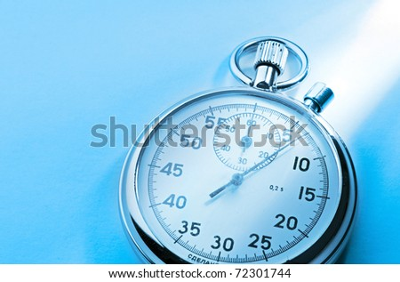 Stopwatch isolated on blue