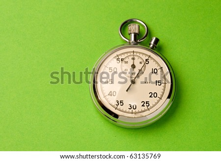 Stopwatch isolated on green background