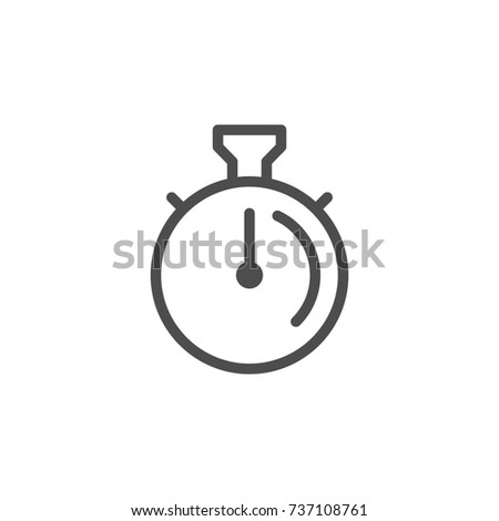 Stopwatch line icon isolated on white