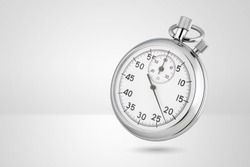 Stopwatch on gray background. Classic mechanical style, metallic chrome color.